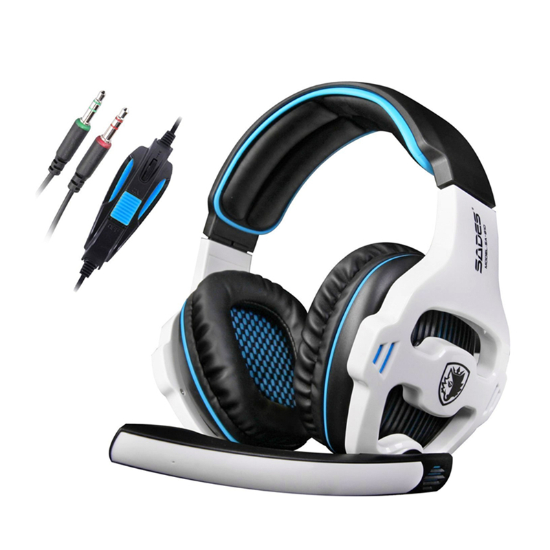 Original SADES SA-810 Gaming Headphone 3.5mm Wired Stereo Game Headset Over Ear with Microphone for LOL WOW CF CS DOTA rock y10 stereo headphone earphone microphone stereo bass wired headset for music computer game with mic