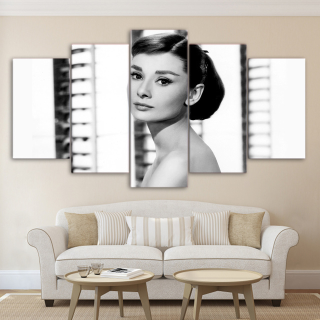 Audrey Hepburn Painting Group HD Printed Beauty Figure Customized 5 ...