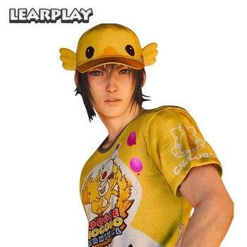 Moogle Chocobo T-Shirt Final Fantasy XV Noctis Lucis Caelum Cosplay Costumes Carnival Shirt Hat FF15 Choco-Mog Tee Cap Kid Adult