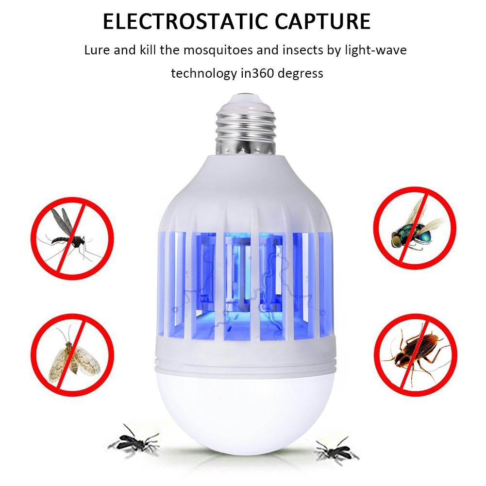 LED Mosquito Killer Lamp Lighting Killing Mosquitoes Dual-Use Household Bug Zapper  Electronic Insect Killer Bulb 110V E27