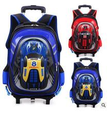 Children trolley school backpack kids backpack wheels Travel Bag Wheeled backpack for boy Rolling Bag school