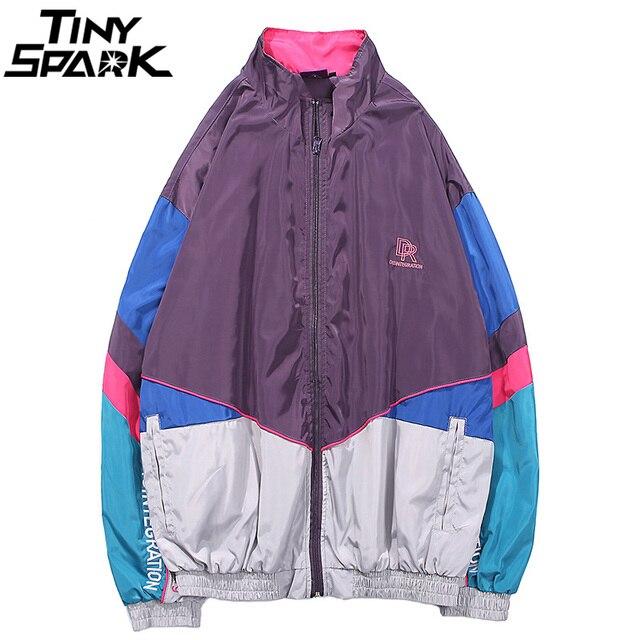 Harajuku Color Block Jacket Streetwear Mens Hip Hop Windbreaker Jacket Embroidery Oversized Track Jacket Coat Casual Autumn 2018