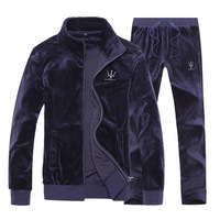 Velour Autumn Winter Men Set Hoodie Zipper Sweatshirt Pants Full Sweat Suit Mens Tracksuits Casual Sportwear Sports Suit Women