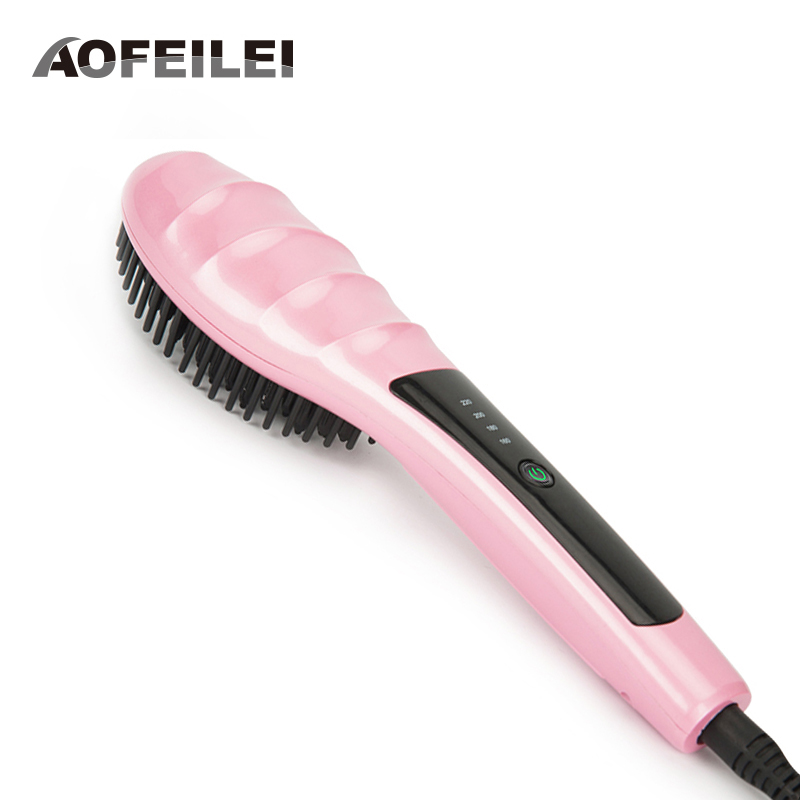 Electric Digital Hair Straightening Irons Professional Fast Ceramic Hair Straightener Brush Comb Styling Tools Escova Alisador professional ceramic fast hair straightener brush flat iron best price electric hair straightening styling tools