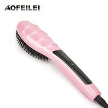 Electric Digital Hair Straightening Irons Professional Fast Ceramic Hair Straightener Brush Comb Styling Tools Escova Alisador