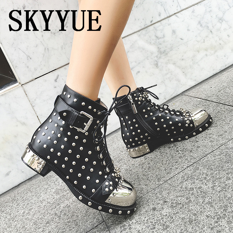 New Black Genuine Leather Lace Up Metal Sequined Women Spring Summer Boots Round Toe Low Heel Women Motorcycle Boots Shoes beango fashion metal toe rivets women boots lace up round toe low heel motorcycle booties casual shoes woman big size 34 43eu