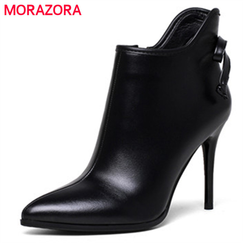 MORAZORA Genuine leather shoes woman spring autumn thin heels shoes ankle boots for women solid zip pointed toe womens boots 2015 autumn korean style pointed shoes with thin heels original glass double peach heart design shoes leather shoes