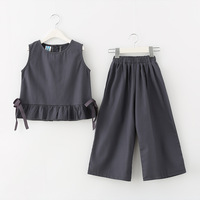 Baby Girl Clothes 2018 Toddler Kids Summer Clothing Set Ribbon Vest+Wide Leg Pants 2Pcs Teenager Suits Children Casual Outfits