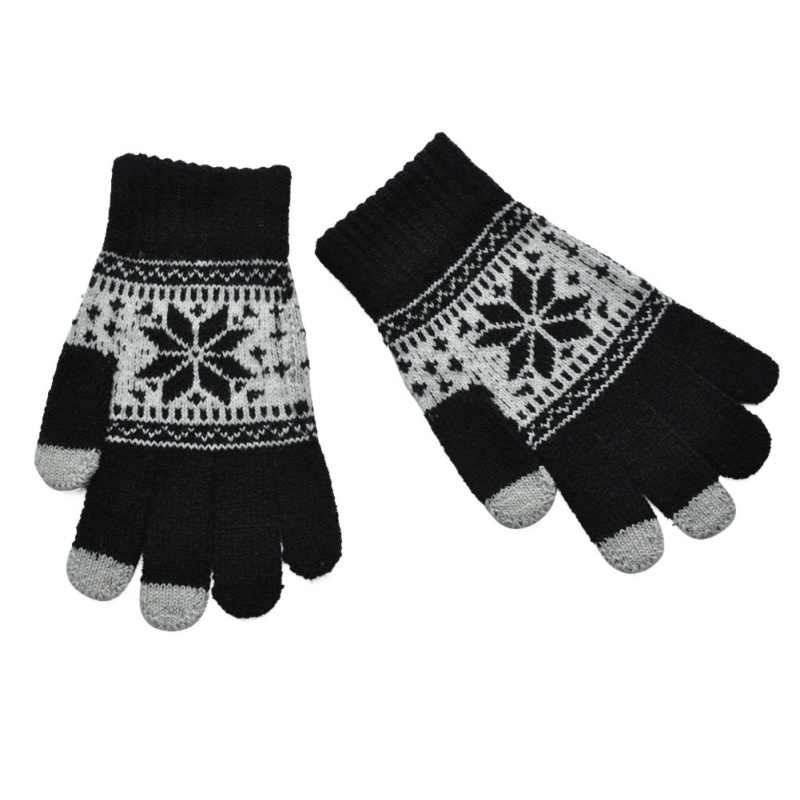 b3e03111e ... Warm Winter Thick Gloves Wool Knitted Fleece Women Touch Screen Gloves  Snowflake Finger Mittens Gloves For ...