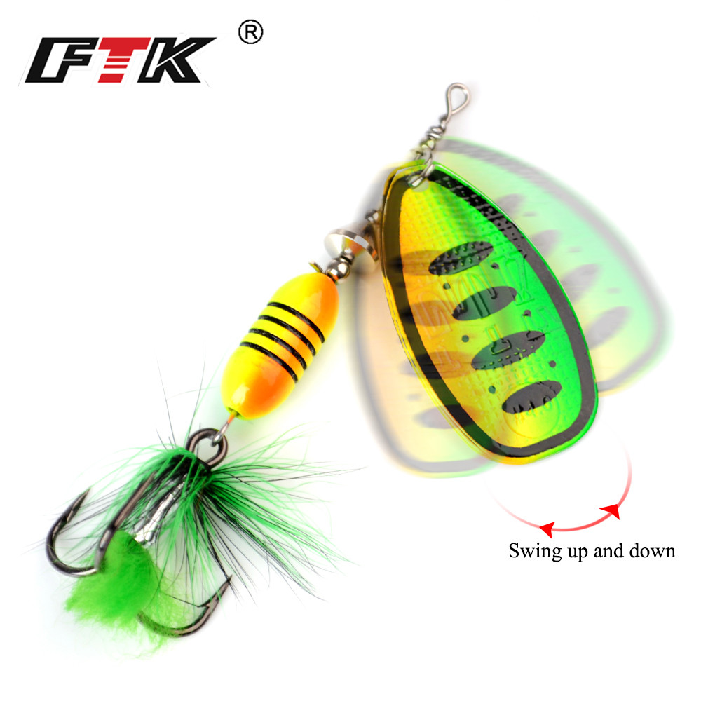 FTK Spinner Bait 17 5g 1Pcs Size 4 13 colors With Feather Treble Hook Art Bait Metal Fishing Bait Spoon Bait pike Fishing Gear in Fishing Lures from Sports Entertainment