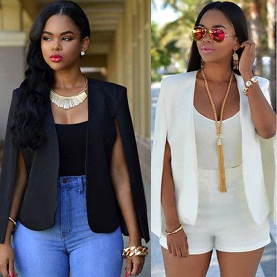 3910065152 Fashion Cloak Cape Blazer Women Coat White Black Lapel Split Long Sleeve  Pockets Solid Casual Suit Jacket Workwear-in Blazers from Women's Clothing  & ...