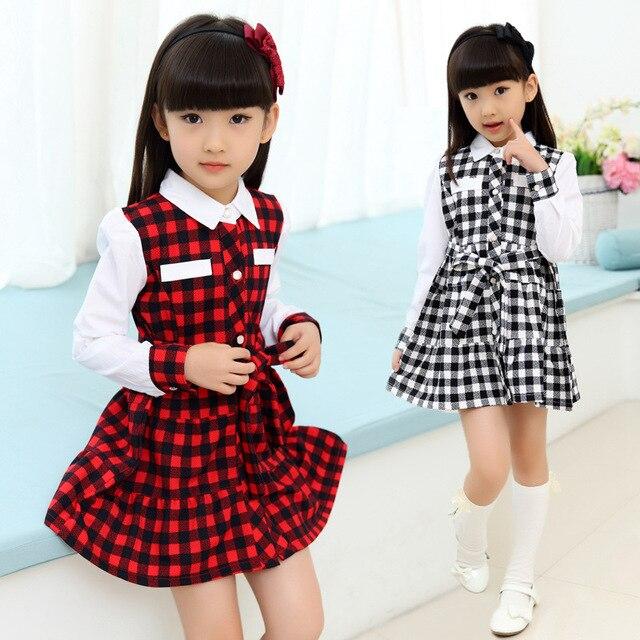 23c93ca441f Pour 3 - 12 ans enfants filles coton à carreaux robe petite fille robe de  soirée