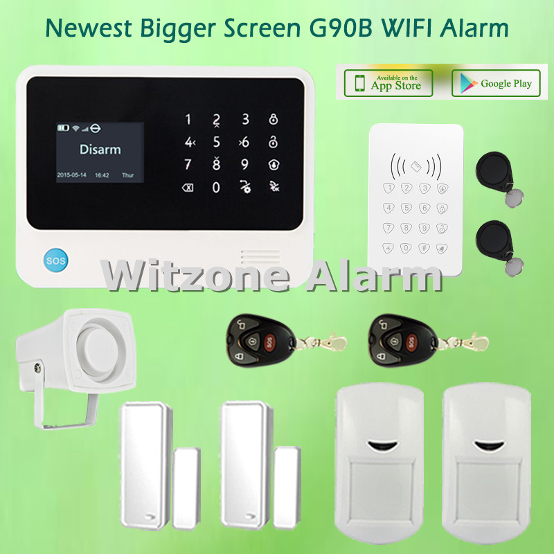 2016 Hot Selling Alarmas Casas Touchscreen WIFI GSM Alarm Security System G90B with Wireless Keypad and RFID Tags hot selling wireless glass break vibration sensor works with s4 alarm system and g90b wifi gsm alarm system