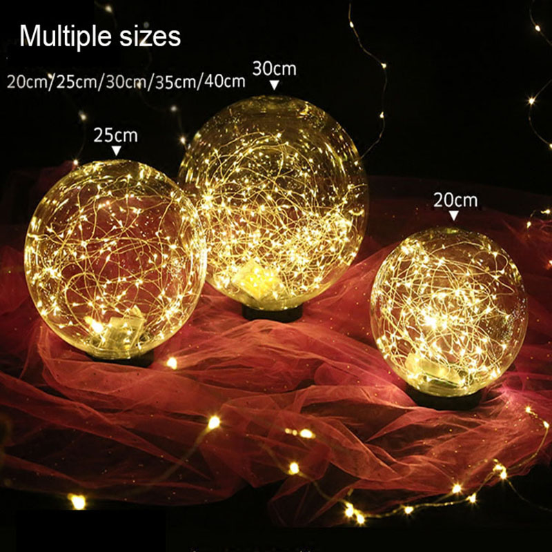 Wedding decoration transparent acrylic star ball wedding road lead hanging LED starry copper wire luminous ball decoration props