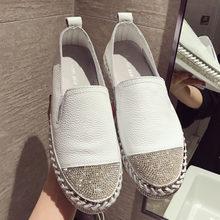34429501586 Famosa marca europeas Patchwork zapatos de alpargatas de mujer de cuero  genuino enredaderas pisos Damas de