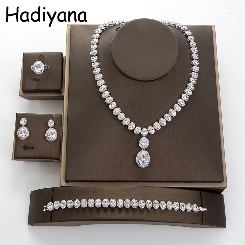 Hadiyana Fashion Bridal Jewelry Waterdrop CZ Sets 2018 Women Copper Necklace Earrings Wedding Engagement Jewelry 2pcs Set TZ8034