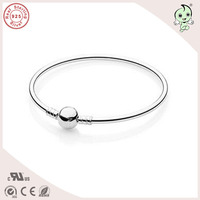 High Quality 100 925 Sterling Silver Round Clasp Silver Bangle Famous European Brand Silver Bangle
