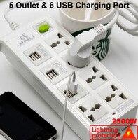REINO UNIDO DA UE EUA AU Tomada Régua De Energia Universal e 6 assento plugue USB com proteção contra Raios|us socket|seat seat|socket universal -