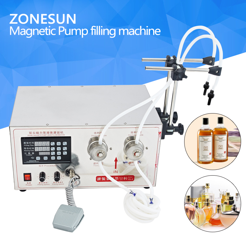 ZONESUN 5ml to unlimited Magnetic Gear Pump Liquid Filling Machine with Double heads,Magnetic Pump Bottle Liquid Filling machine
