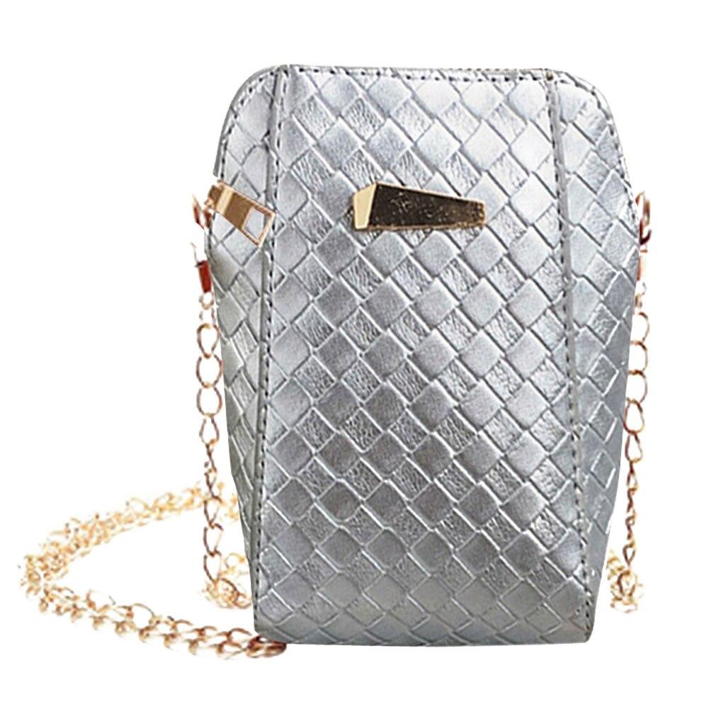 Cuore Bag Catene Messaggero argento Borse Crossbody Nero