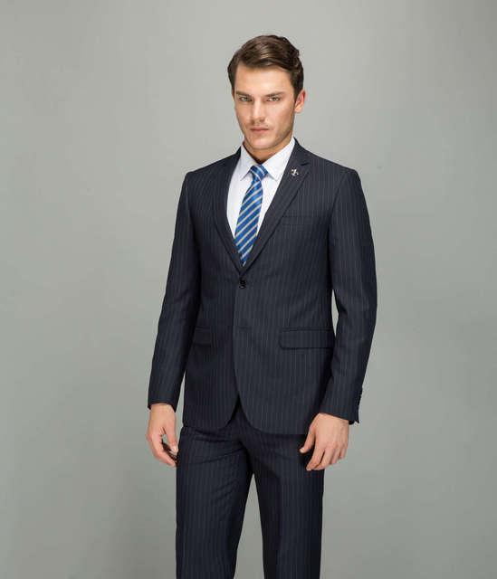 Laine À Rayures Costumes Hommes Bleu Foncé Robe de Soirée D\u0027affaires Costume  pour Hommes