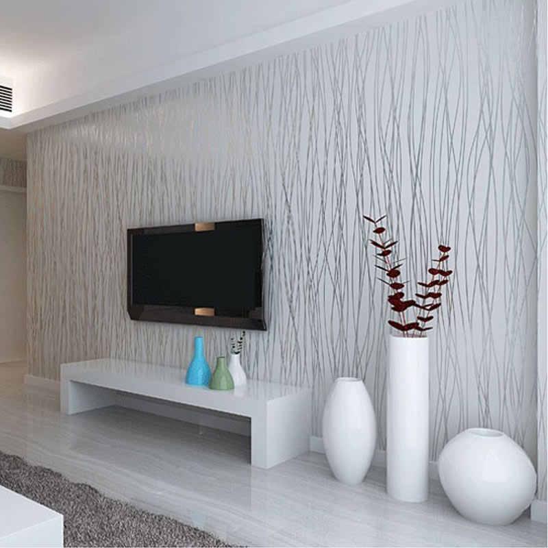 Из нетканого материала модные тонкие стекаются вертикальные полосы обои для Гостиная диван Задний план стены дома обои 3D серый серебристый