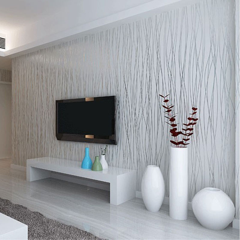 Non Woven Fashion Thin Flocking Vertical Stripes Wallpaper For Living Room Sofa Background Walls ...