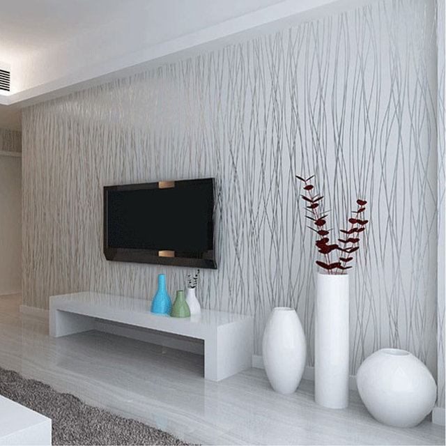 Buy non woven fashion thin flocking for Silver wallpaper living room