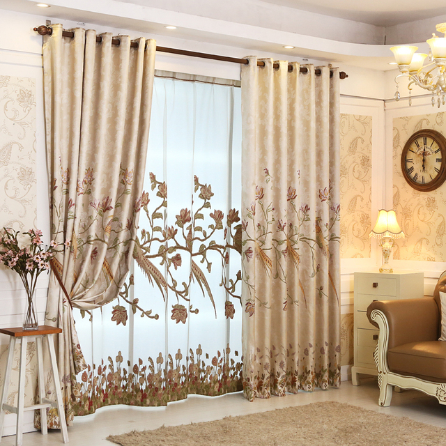 Jacquard Luxury Curtains For Bedroom Blackout Blinds Drapes Living Room Chinese Phoenix Ready Made