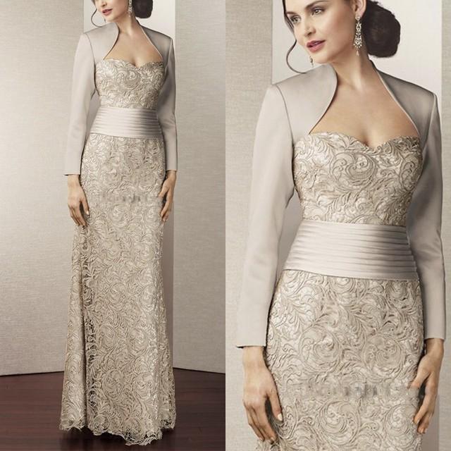 2015 Mãe Dos Vestidos de Noiva Sweetheart Bainha Prata Lace Com Jaqueta de Vestidos de Noite Longos Vestidos Mãe Para Casamentos