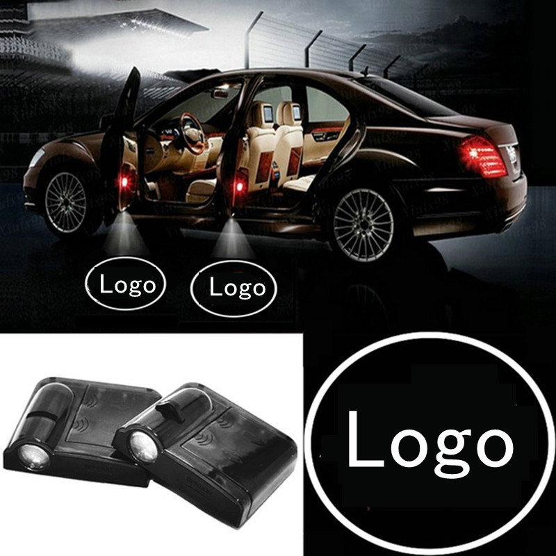 2pcs Car Styling Welcome Projector Lamp Warning Light Shadow Car Emblems Wireless Door Sensor Car Laser Led For Toyota Honda