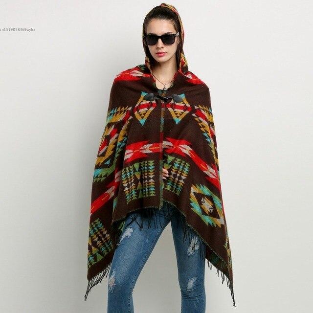 fdb99d5344 Women Wool Blend Hooded Blanket Cloak Poncho Cape Outwear Coat Shawl ...