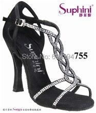 Free Shipping 2017 Suphini Latin Rhinestone Bling bling Salsa Shoes Woman Stone Dance Shoe