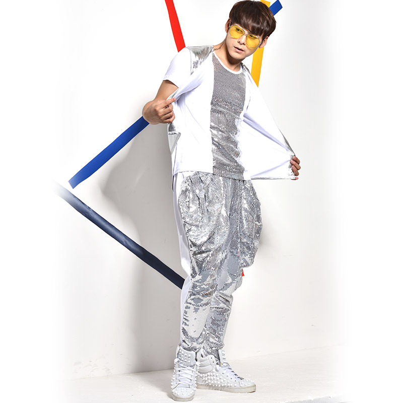 (Vest + T shirt calças ++) prata de lantejoulas 3 peça define masculino cantor bar boate jazz rock trajes terno chumbo show de dança calças Haren - 4