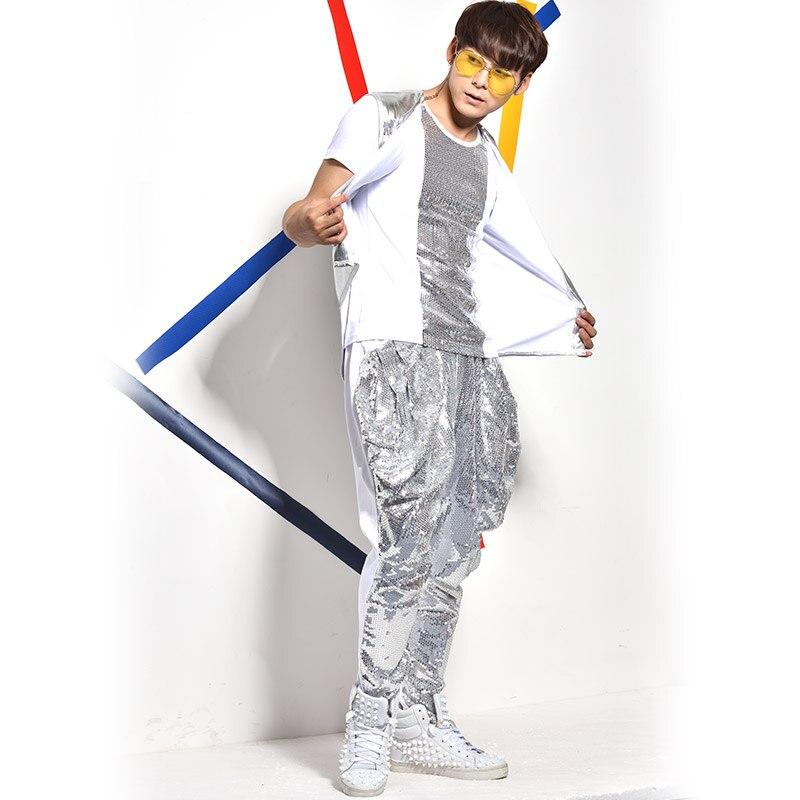 (Weste + T shirt + + hosen) silber pailletten 3 stück sets männlichen sänger nachtclub bar jazz rock kostüme anzug blei dance zeigen Haren hosen - 4