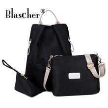 Blascher3 шт/комплект Для женщин нейлон Рюкзаки женский Повседневное путешествия Школьные сумки для подростков Обувь для девочек сумка клатч кошелек SCW20