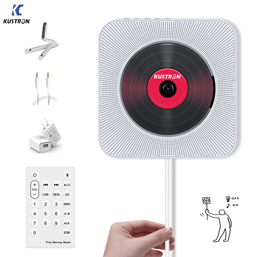 KUSTRON lecteur CD mural montable Bluetooth HiFi lecteur de musique CD avec télécommande, Radio FM, USB, prise casque MP3 3.5 MM