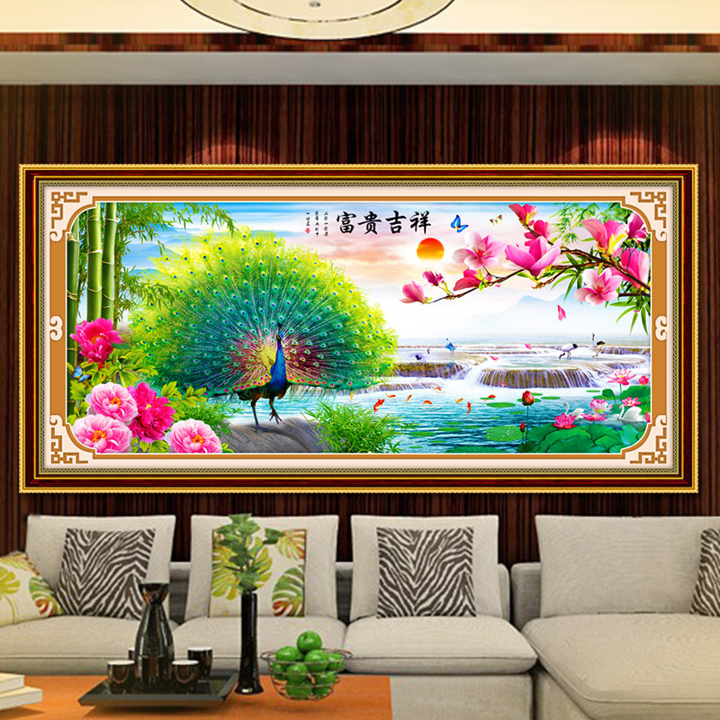 DIY 2016 New 3D 11CT Cross Stitch  Auspicious Rich Peacock Precision Silk Cotton For Decoration Of Living Room Needlework Craft