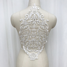 2-5Pcs Ivory White Lace Applique Embroidery Appliqued Fabric With Mesh Ribbon Sewing Trims Garment Accessories
