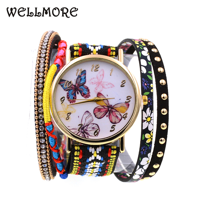 WELLMORE 2018 new style leather bracelet watch fashion&casual butterfly quartz Wristwatches for women wholesale jewelry characteristic floral and butterfly shape lace decorated body jewelry for women