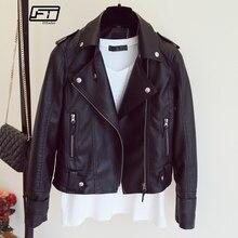 Mujer 2018 nuevo diseño primavera otoño pu chaqueta de cuero Faux chaqueta  de cuero suave delgada remache negro cremallera motoc. c7135c2f0d94