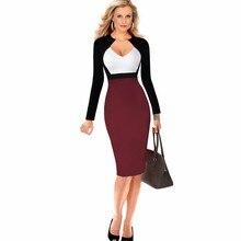 2016 Women Dress Deep V Neck Patchwork Design Long Sleeve New Fashion Office Work Formal  Dress Ladies bandage pencil Dress