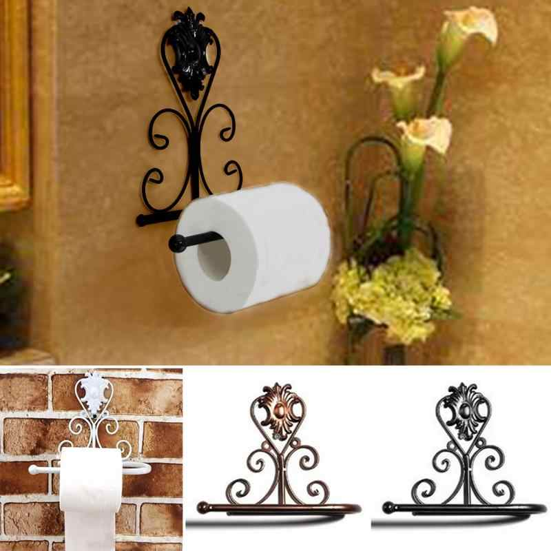 Classic Bathroom accessories  Vintage Iron Toilet Paper Towel Roll Holder Bathroom Wall Mount Rack