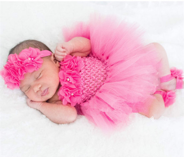 2fe2e288ad1a Cute Baby Tutu Dress Set Infant Girls Crochet Tulle Dress Tutus with ...