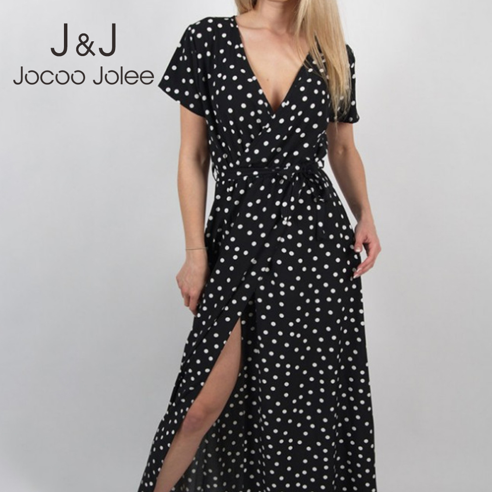 Jocoo Jolee Summer Elegant Split Beach Party Maxi Dress Sexy Long Sleeve Dot Print Long Dress Casual Black White Red Sundress