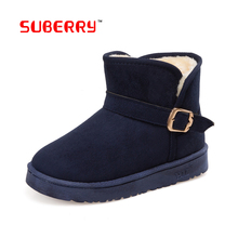 Special Offer!SUBERRY High Quality Cozy Warm Fur Inside Snow Boots Winter Shoes Buckle Ankle Boots Flat Casual Boots For Women 9