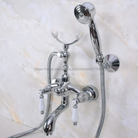Polished Chrome Bath Shower Faucet Set Dual Knobs Wall Mounted Bathtub Mixers with Handshower Swive Tub Spout Nna247
