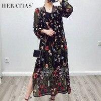 Floral Haftowane Długa Sukienka Kobiety Sexy Mesh V-Neck Podziel Maxi Sukienka W Stylu Vintage Pełna Rękaw Czarny Lato Organzy Sukienka Vestidos