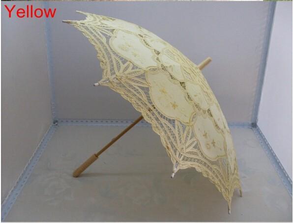 New Lace Umbrella Cotton Embroidery White/Ivory Battenburg Lace Parasol Umbrella Wedding Umbrella Decorations Free Shipping 39