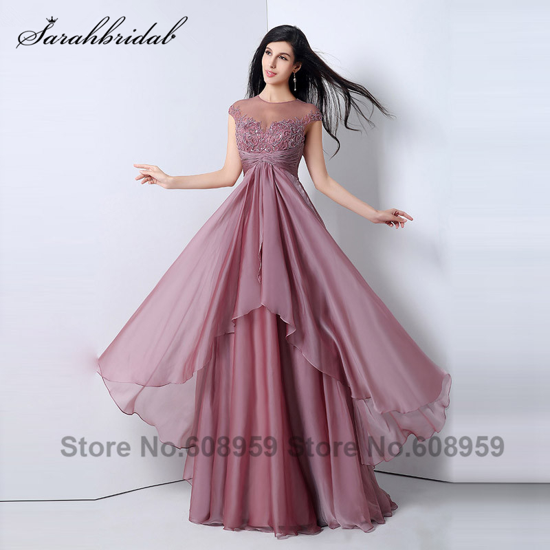 Elegant Sky Blue Back Keyhole Chiffon Formal Evening Dresses Sequined Sweep Train A line Prom Dresses